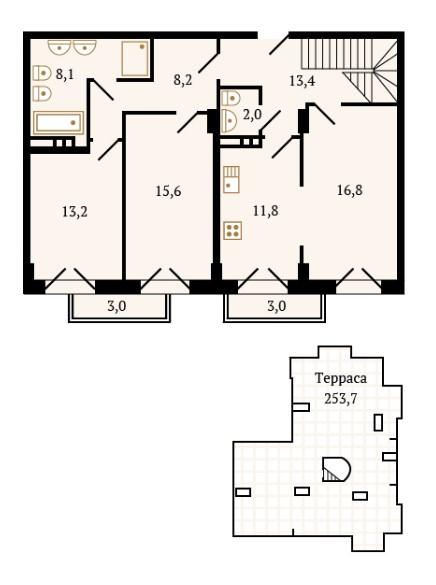Планировка Трёхкомнатная квартира площадью 89 кв.м в ЖК «Новелла»